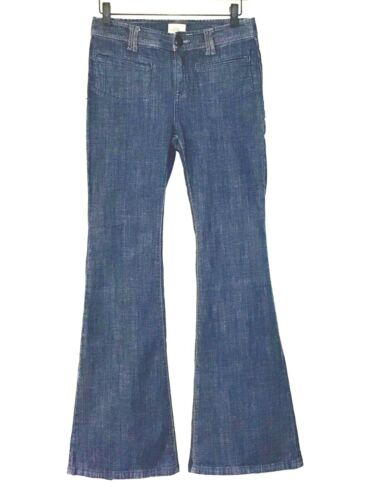 FREE PEOPLE BELL BOTTOM BLUE JEANS, SIZE 27, 34 IN