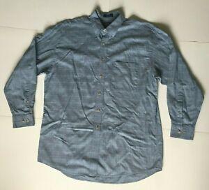 Pendleton-Mens-Large-Long-Sleeve-Button-Down-100-Cotton-Blue-Plaid-Check-Shirt