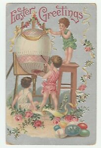 Vintage-Postcard-Easter-Children-Decorate-Big-Egg-Silver-Background-Embossed