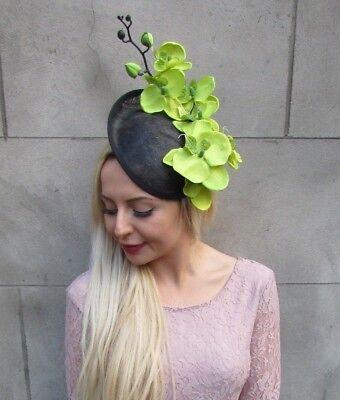 Black /& Lime Light Green Flower Hat Fascinator Races Wedding Hair Sinamay 5891