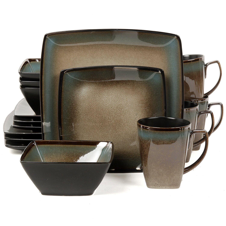 GIBSON TEQUESTA 16pc Dinnerware Set Service pour 4 réactifs Assiettes Bols Glaze