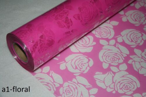 choice of size,fab 4 gift wrapping cerise ~ cut out roses CELLOPHANE ROLLS
