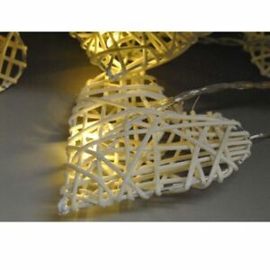 outlet store cc90b ea61b Details about Wicker Rattan Hearts LED String Lighting Rustic Wall Decor  Hanging shabby chic