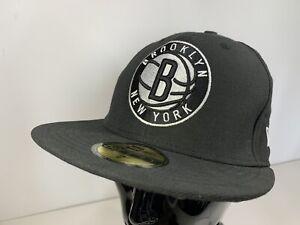 New Era NBA Brooklyn Nets 59Fifty Black Fitted Hat Cap 7 55.8cm Basketball NEW