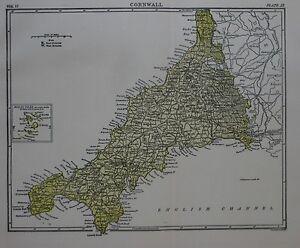 Lands End England Map.Bartholomew 1888 Shire Map Cornwall Penzance Falmouth Lands End