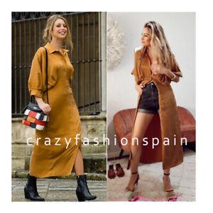 ZARA-WOMAN-NWT-SS20-TOFFEE-PLEATED-SHIRT-DRESS-REF-7385-105