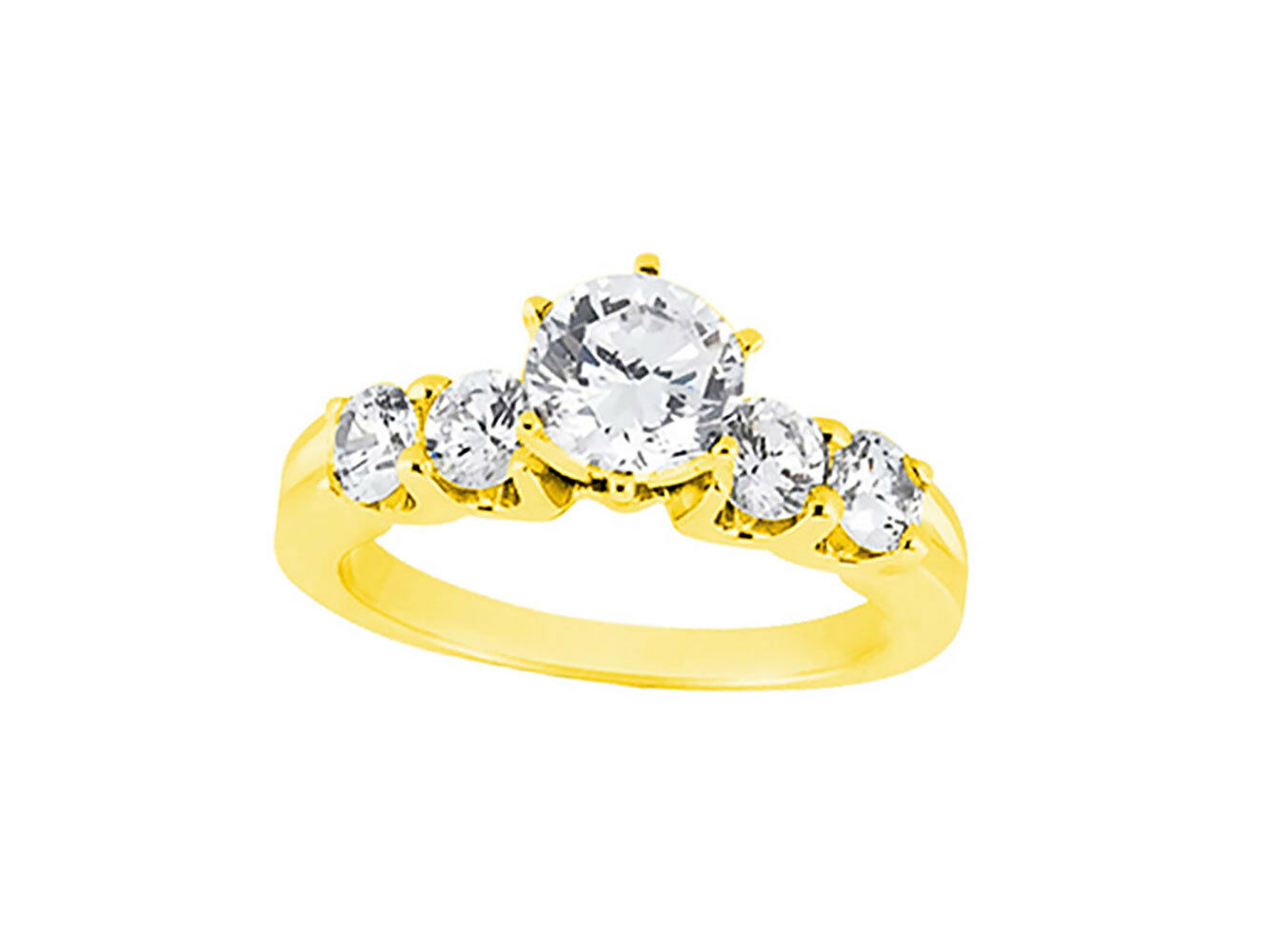 Natural 1.10Ct Round Cut Diamond Engagement Ring U-prong Accents 18k gold IJ SI2