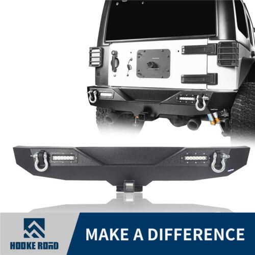 """Hooke Road For Jeep Wrangler JK 07-18 Rear Bumper w// 2/"""" Hitch Receiver /& Lights"""