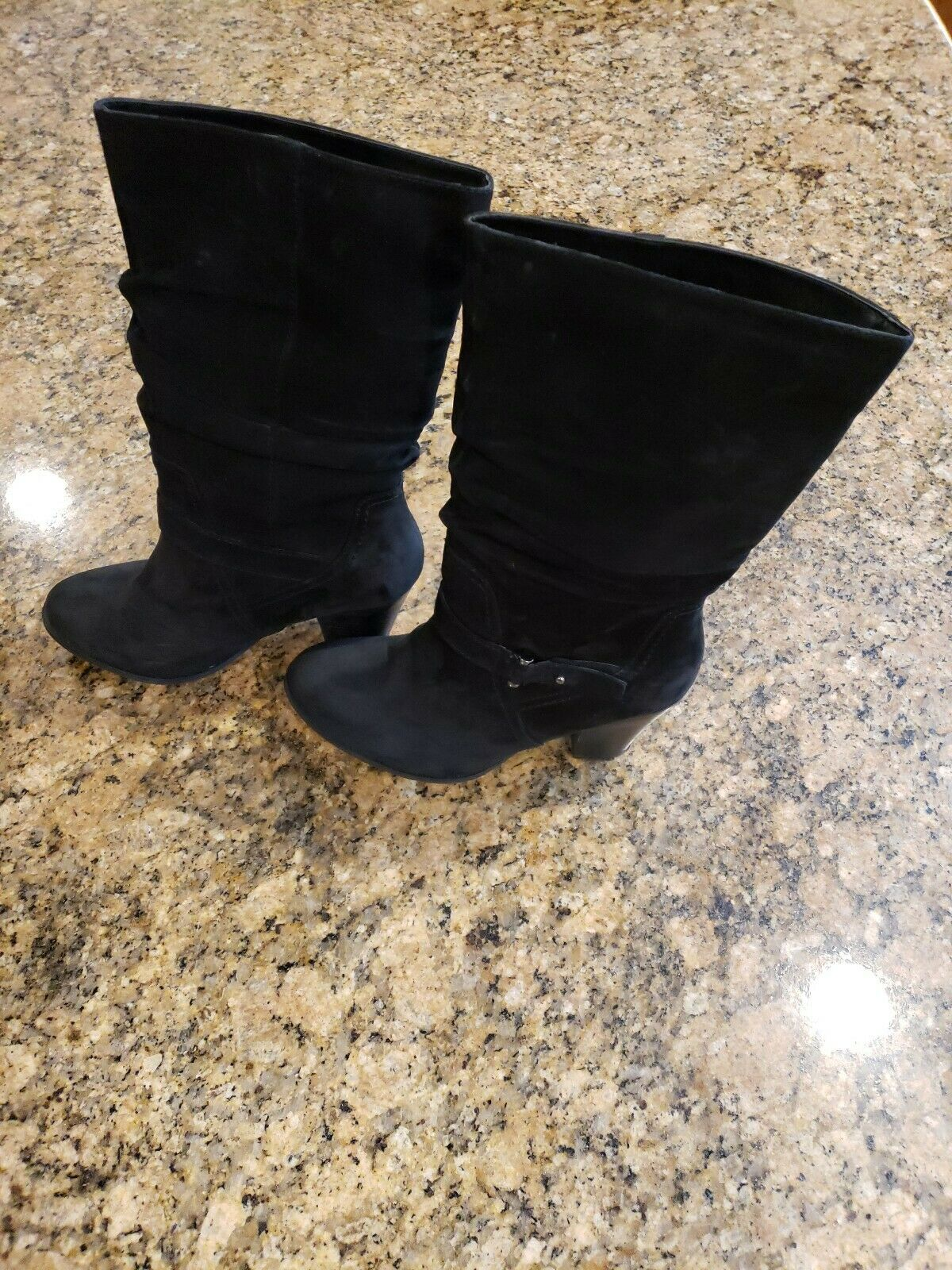 Aldo Black Suede Slouched Pull On Boots Block Heel Silver Buckle Womens shoes 8