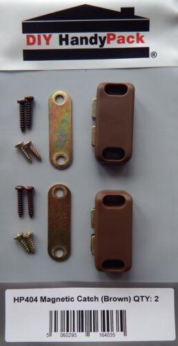 Diy handypack magnétique meubles porte d/'armoire catch-marron ou blanc pack 2