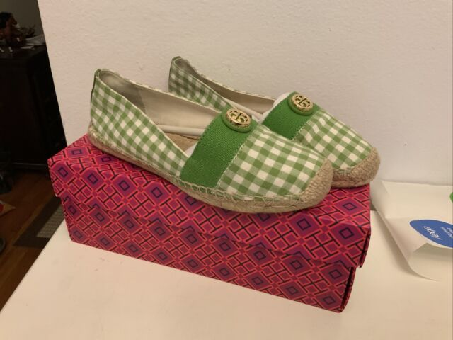 NEW WOMENS TORY BURCH GINGHAM ESPADRILLE CANVAS SIZE 8