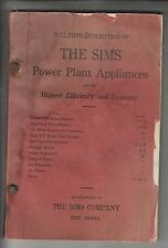 CIRCA 1920 BULLETINS/CATALOG - THE SIMS POWER PLANT APPLIANCES - SIMS CO ERIE PA