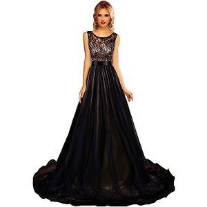 Abendkleid-Ball-Verlobung-Sissi-Damen-Kleid-Tuell-Schleppe-lang-Beige-Schwarz