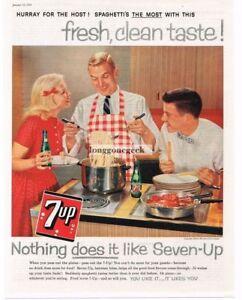 1959 Seven Up 7 Soda Papa Cuisine Spaghetti Vtg Imprimé Ad Style à La Mode;