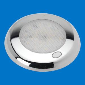 LED-Boot-WOHNWAGEN-Licht-Slim-unten-Chrom-Schalter-12-Weiss-LED-12V