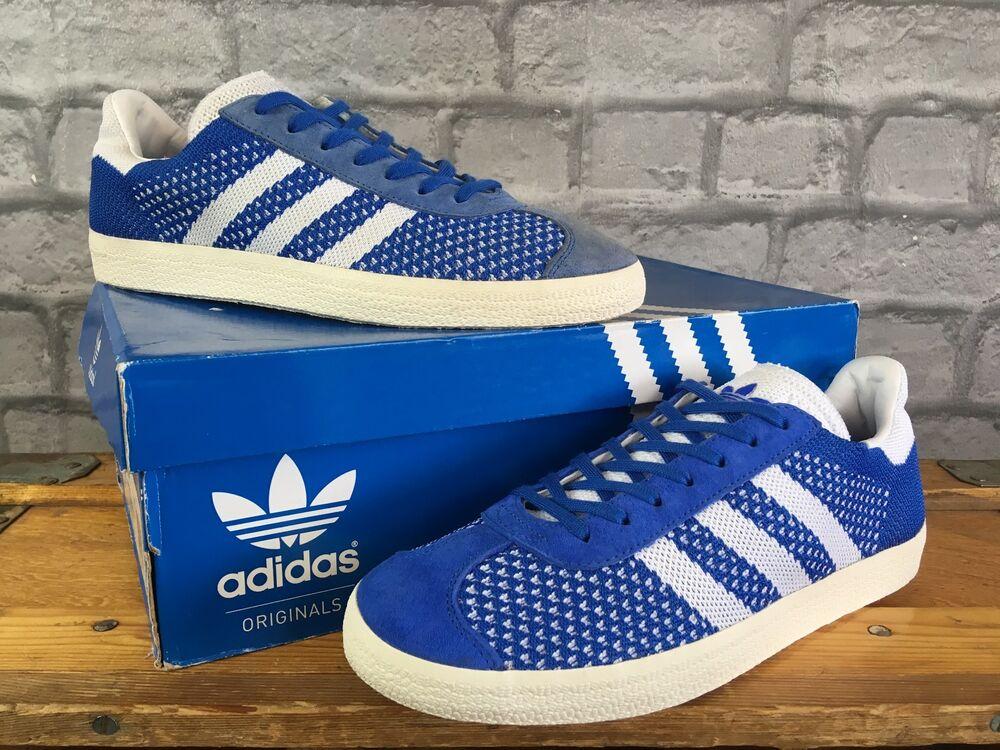 Adidas Homme UK 7 EU 40 2/3 Bleu Blanc Primeknit Gazelle Baskets RRP £ 90-