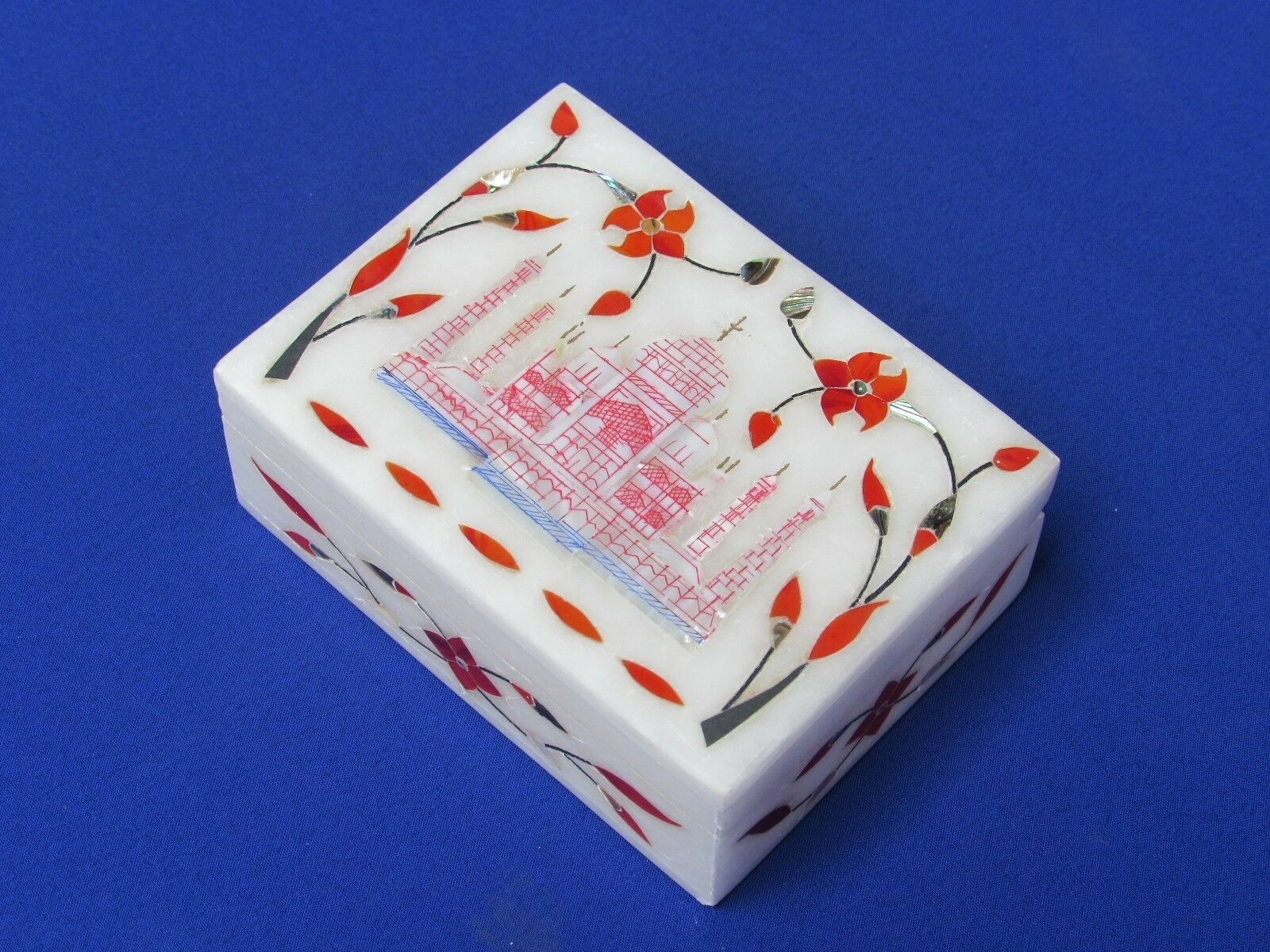 Marble Jewelry Box Inlay Pietra Dura Work White Stone Taj mahal For Home Decor