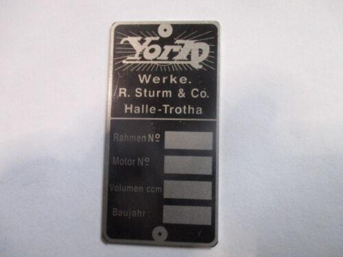 Typenschild Schild Oldtimer Motorrad York Sturm Halle-Trotha s49