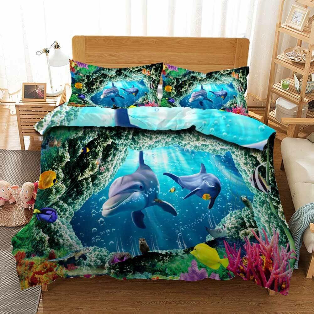 Shark Sea Hole 3D Printing Duvet Quilt Doona Covers Pillow Case Bedding Sets