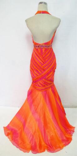 NWT CLARISSE $380 Fuchsia Orange Prom Formal Gown 4