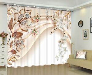 Details About Rose Gold Ornaments Art Blockout Mural Curtain Fabric Home Decor Window Drapes