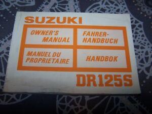 2019 DernièRe Conception Ea - Owner S Manual/manuel/notice Proprietaire/entretien Suzuki Dr125s Dr 125 S PréParer L'Ensemble Du SystèMe Et Le Renforcer