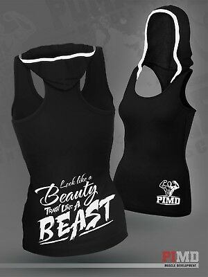 Pimd Women Vest With Hood - Black Sleeveless Fitness Tank Tops Gym Vest New