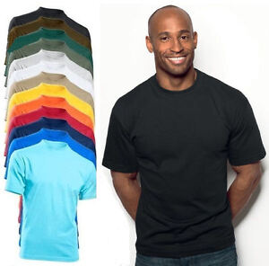 Hanes-Algodon-Liso-Resistente-Grueso-Camiseta-Camiseta-No-Logo