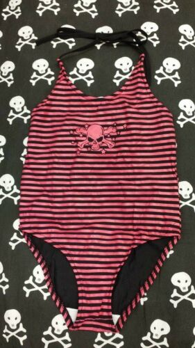 Phoenixx Rising Pink Stripe Skull /& Crossbones Kids Girls Swimming Suit Costume