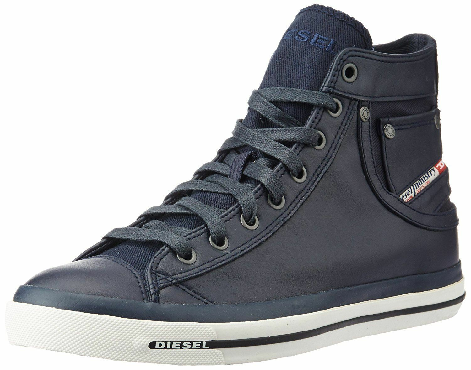 Diesel Exposure I Navy White Leather Mens Hi Trainers Boots