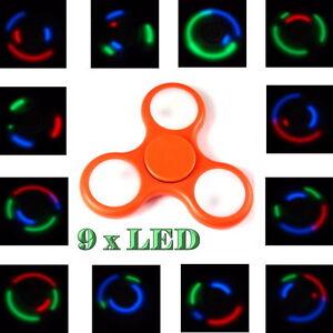 2-x-LED-Finger-Hand-Fidget-Spinner-orange-9-verstellbare-LED-TOP-SPIN-Kugellager