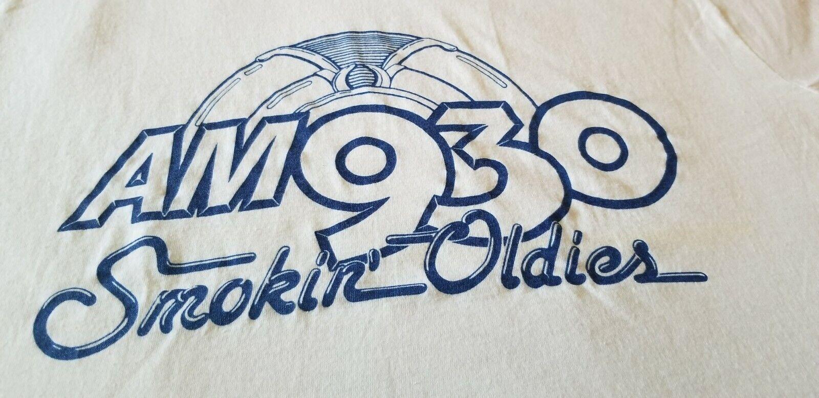AM 930 SMOKIN OLDIES VINTAGE 80S RADIO STATION TEE SHIRT CLEAN LARGE