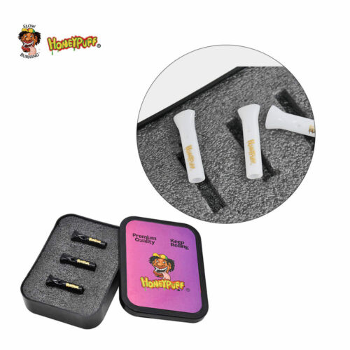 3 xGlass Reusable Filter Tips Glass Valve Paper Mouth Tips+1 Plastic Tobacco Box