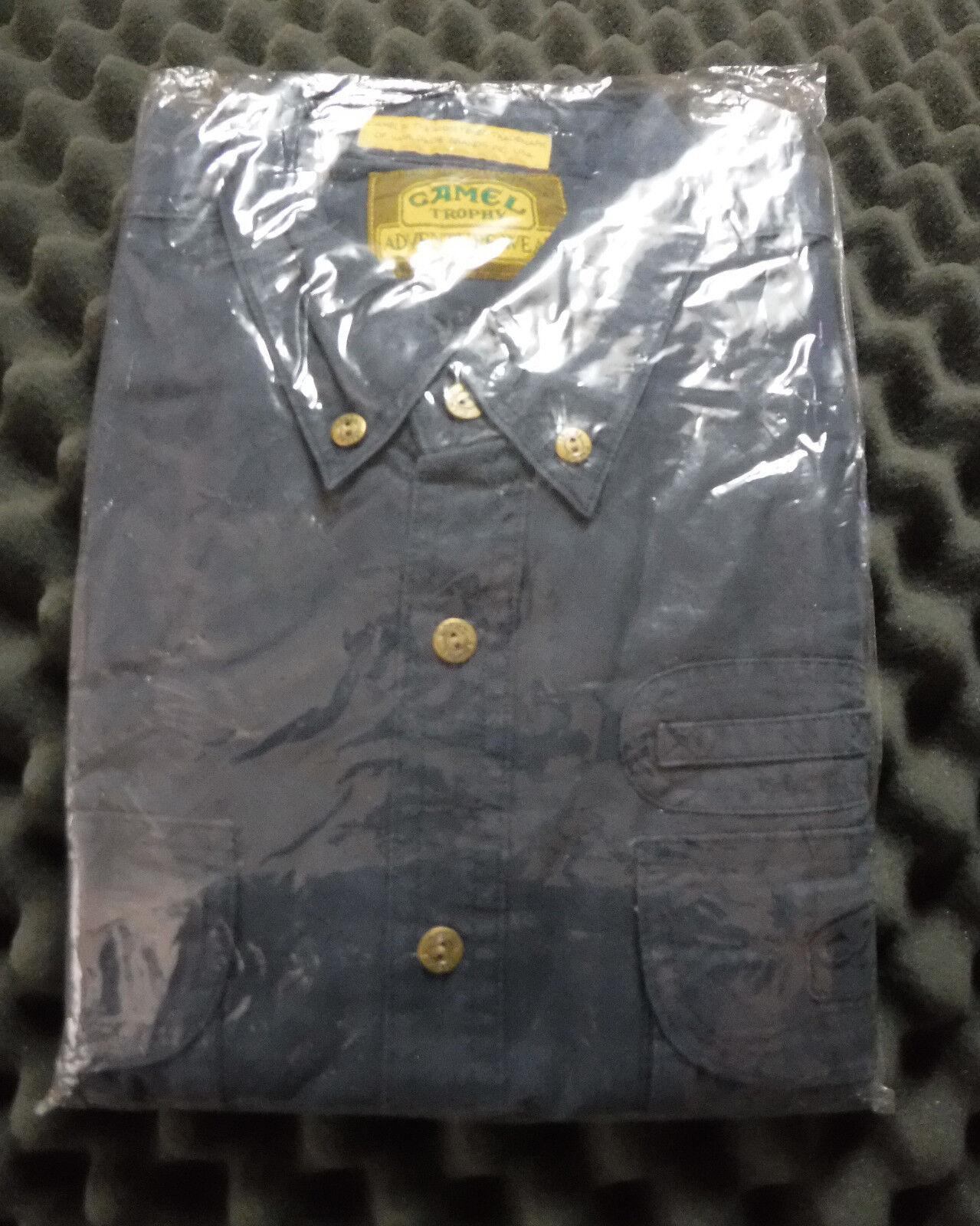 Camel Trophy Adventure Wear Safari Shirt Cargo Button Short Sleeve bluee Size XL