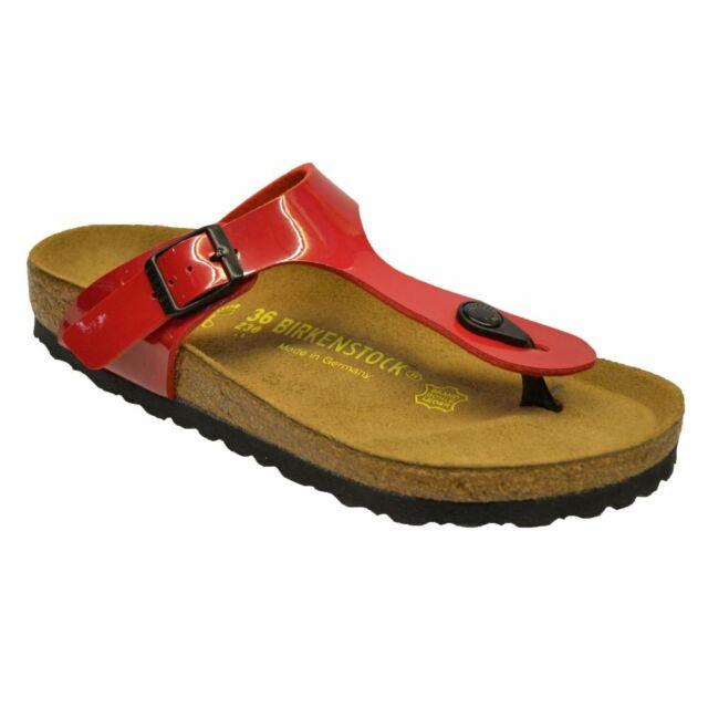 78ff695bc Birkenstock Gizeh Red Birko-flor Patent Womens Leather Sandals 5 UK ...