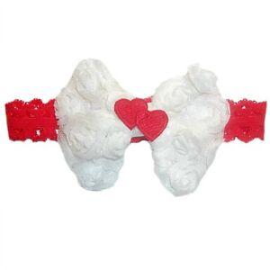 baby girl white headband red heart 7 preemie newborn