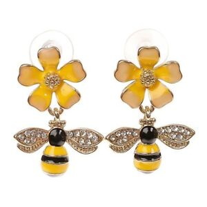9bdea31f9061e Details about Betsey Johnson Gold Plated Yellow Black Striped Bee Flower  Stud Earrings