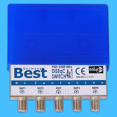 DiSEqC Schalter mit Wetterschutz BEST Germany 4x1 4/1 switsch SAT Umschalter LNB