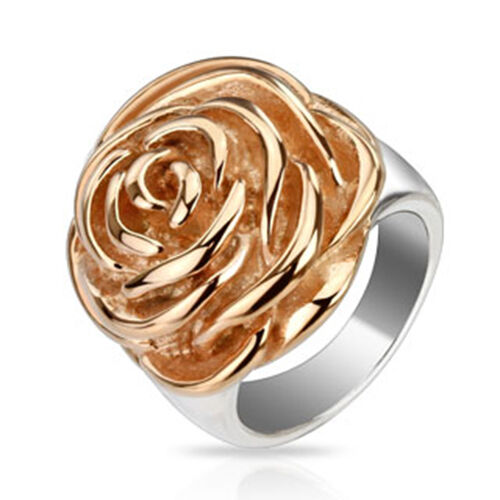 316l anillo de acero inoxidable Rose flower flor Rosegold plata cast vintage banda señora