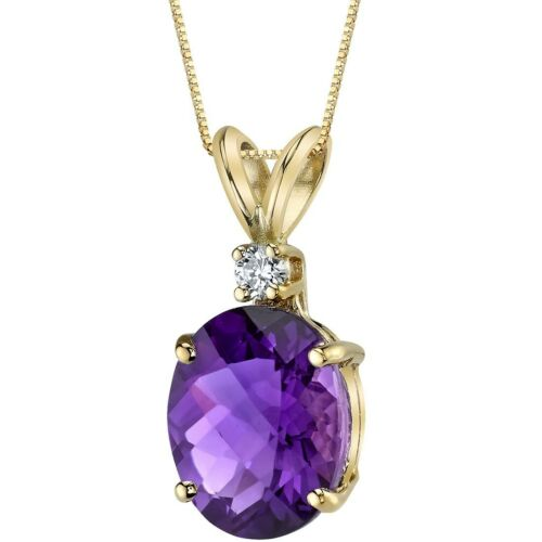 Oravo 14 kt or jaune ovale 2.00 cts Améthyste Diamant Pendentif