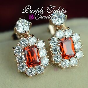 18CT-Rose-Gold-Plated-Luxury-Bridal-Ruby-Earrings-Made-With-Swarovski-Crystals