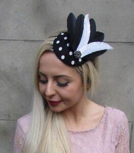 8db6118c Black White Polka Dot Spot Print Feather Pillbox Hat Fascinator ...