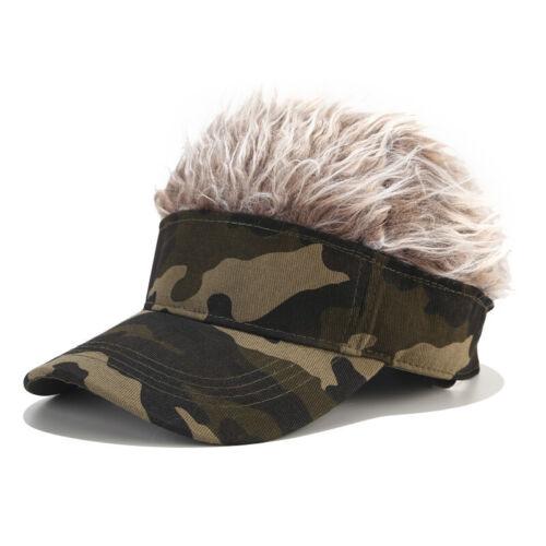 With Grey Silver Hair Wig  Camo Cap Bald Head Warm Flair Hair Men/'s Visor Hat