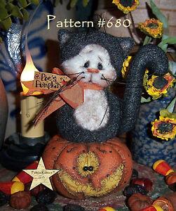 Patti/'s Ratties Primitive Halloween Black Cat Pumpkin Doll Paper Pattern #651