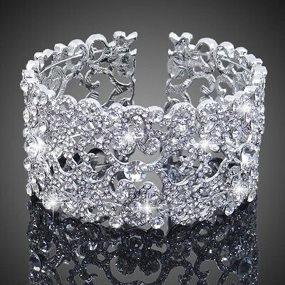Silver Bridal/Bridesmaid Wedding/PartyAustrian Crystal Bracelet Bangle Jewellery