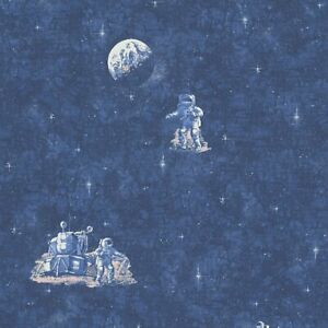 Details About Blue Spaceman Moon And Stars Glow In The Dark Wallpaper 30489