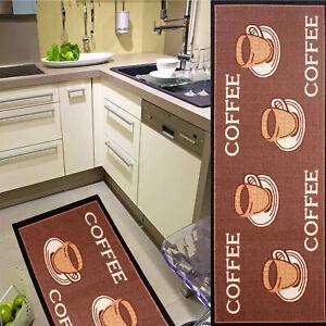 Details zu Küchenläufer Läufer Küche Teppich Kaffee Coffee Cafe Braun  Kaffeeläufer 67x180