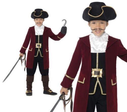 Bambino Lusso Pirata Capitan Uncino Costume Ragazzi Caraibi Costume 4-12 Anni