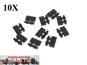 10X-Lego-2540-modifizierte-Platten-Plate-1X2-mit-Griff-Handle-Schwarz-Black-Neu