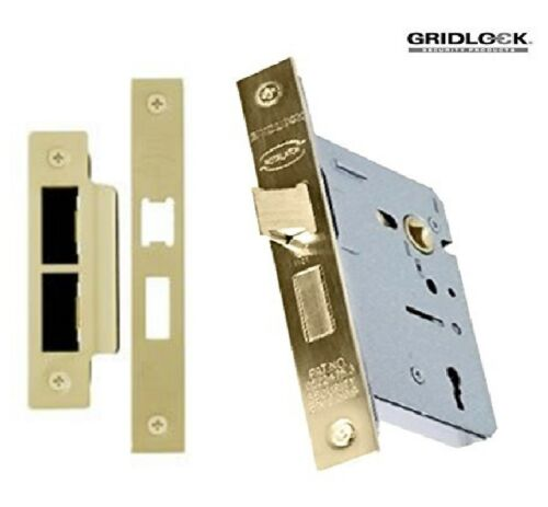 3 LEVER MORTICE INTERNAL SASH DOOR LOCK 2.5 INCH Brass Chrome  Finish Fire Rated